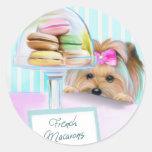 Yorkie French Macarons Round Sticker