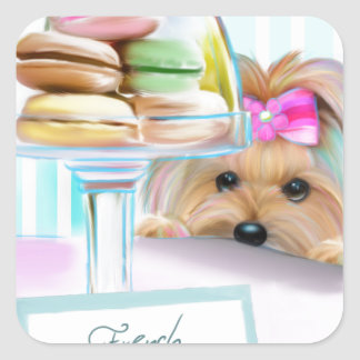 Yorkie French Macarons Square Sticker