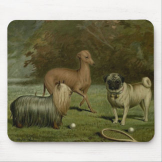 Yorkie Greyhound Pug Friends 1800s Artwork Mouse Mat