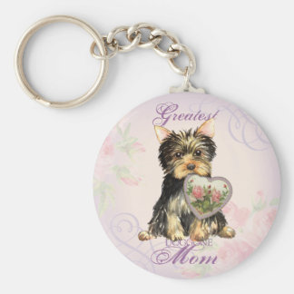 Yorkie Heart Mom Basic Round Button Key Ring