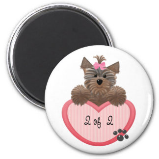 Yorkie Heart Twins 2 of 2 6 Cm Round Magnet