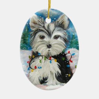 Yorkie Holiday Ornament