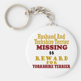 Yorkie & Husband Missing Reward For Yorkie Basic Round Button Key Ring