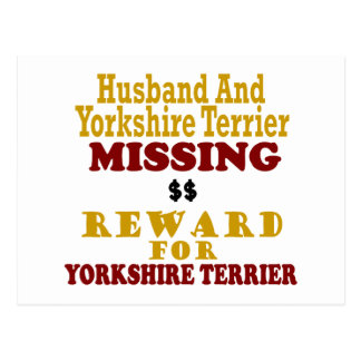Yorkie & Husband Missing Reward For Yorkie Postcard