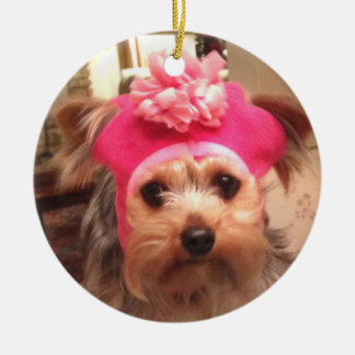Yorkie in a Hat Christmas Ornament