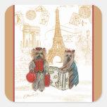 Yorkie in Paris & Eiffel Tower Square Sticker