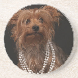 Yorkie in Pearl Necklace Coaster