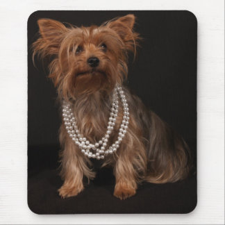 Yorkie in Pearl Necklace Mouse Mat