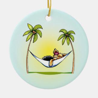 Yorkie Island Princess Off-Leash Art™ Christmas Ornament