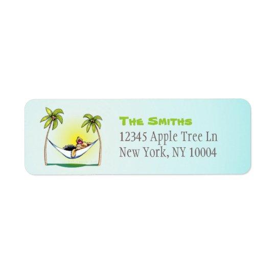 Yorkie Island Princess Off-Leash Art™ Coconut Return Address Label