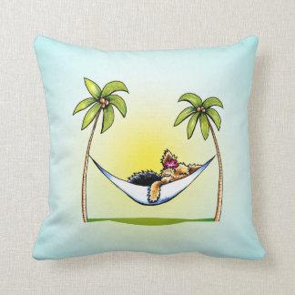 Yorkie Island Princess Off-Leash Art™ Throw Pillow