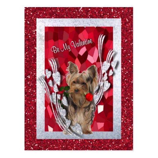 Yorkie Male Puppy Be My Valentine Postcard