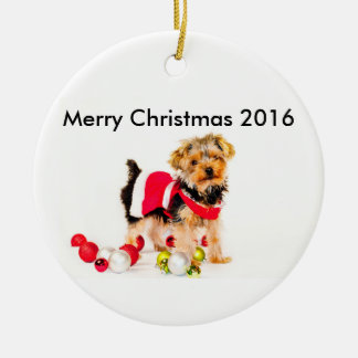 Yorkie Merry Christmas Ornament