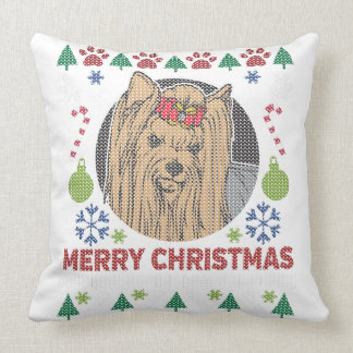 Yorkie Merry Christmas Ugly Sweater Design Throw Pillow