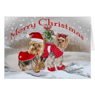Yorkie Merry Christmas with Mistletoe cards