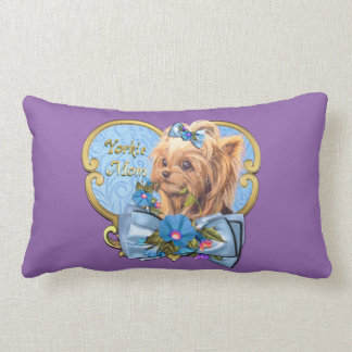 Yorkie Mom Throw Pillow in Blues & Purple