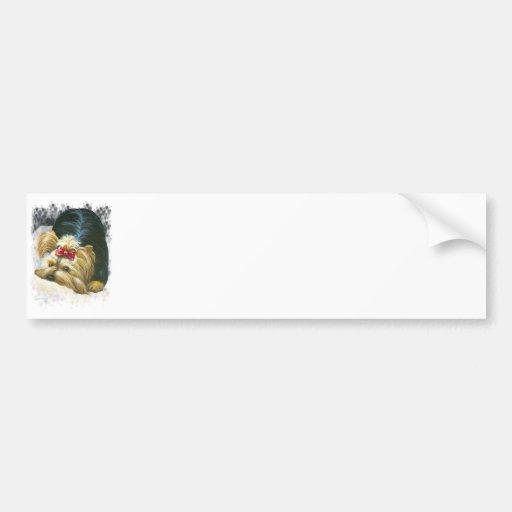 Yorkie Peek a Boo Bumper Sticker