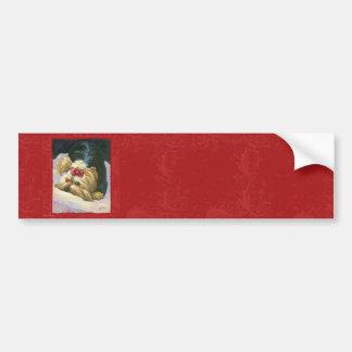 Yorkie Peekaboo Red Damask Art Print Bumper Sticker