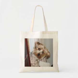 Yorkie Peeking Around the Corner Tote Bag