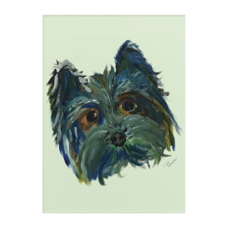 Yorkie Pop Art Painting in Blue and Green