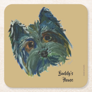 Yorkie Pop Art Painting in Blue and Green Square Paper Coaster