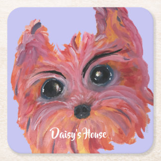 Yorkie Pop Art Painting in Pink and Orange Square Paper Coaster