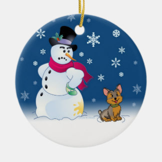 Yorkie puppy and Snowman Christmas Ornament