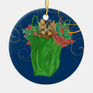 Yorkie Puppy Christmas Ornament