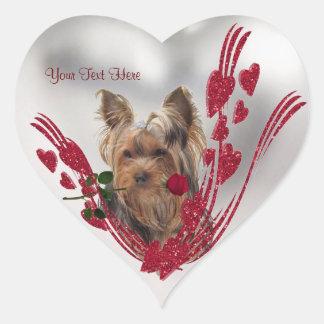 Yorkie Puppy Customizable Valentine Sticker