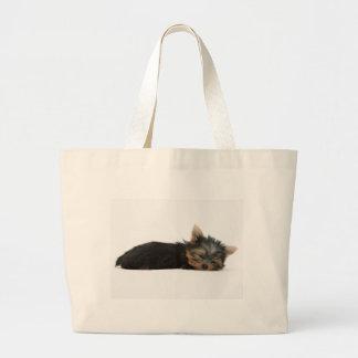 Yorkie Puppy Sleeping Large Tote Bag