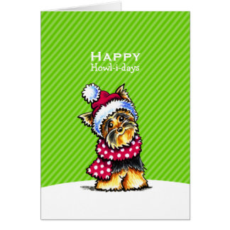 Yorkie Scarf Christmas Green Custom Card