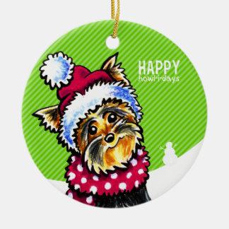 Yorkie Scarf Christmas Happy Howl-i-days Christmas Ornament