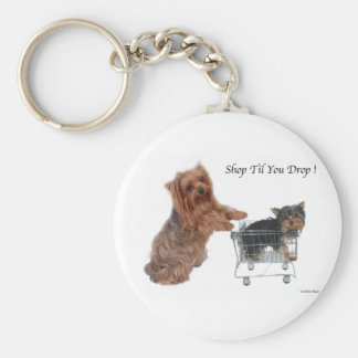 Yorkie Shop Til You Drop Basic Round Button Key Ring