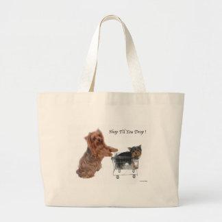 Yorkie Shop Til You Drop Large Tote Bag