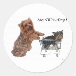 Yorkie Shop Til You Drop Round Sticker