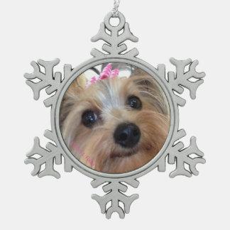 Yorkie  Snowflake Christmas Ornament