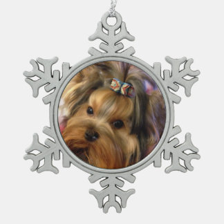 Yorkie Snowflake Pewter Christmas Ornament