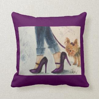 """Yorkie & Stilettos"" Original Watercolor Design Throw Pillow"
