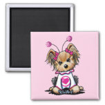 Yorkie Terrier Love Bug Square Magnet