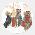 Yorkie Travel Paris Eiffel Tower Stickers