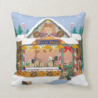 Yorkie Treat Shop Christmas Holiday Pillow