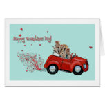 Yorkie Vintage Red Car Valentine Note Cards