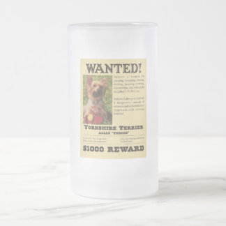 Yorkie Wanted Poster Frosted Mug