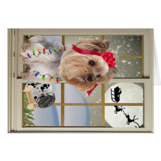 Yorkie Watches For Santa Card