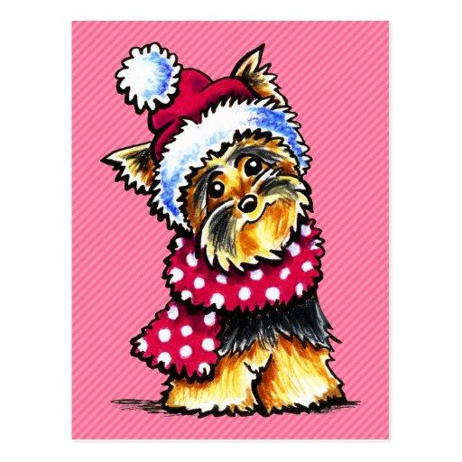 Yorkie Winter Scarf Polka Dots Post Card