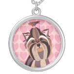 Yorkie with Pink Hearts Background Necklace