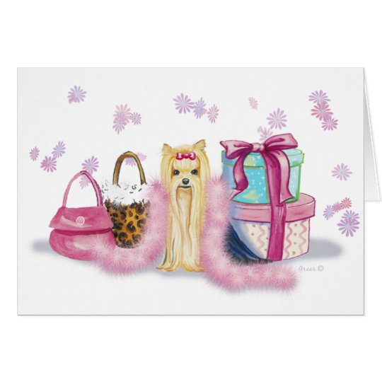Yorkie Yorkshire Terrier with Feather Boa Cards