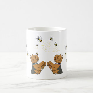 Yorkies and bees coffee mug