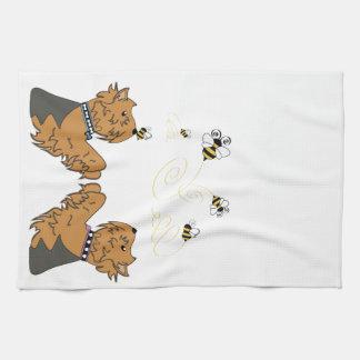 Yorkies and bees tea towel