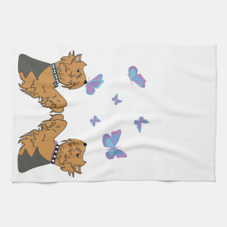 Yorkies and Butterflies Tea Towel